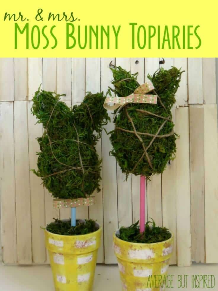 DIY Mr. & Mrs. Moss Bunny Topiaries - Average But Inspired featured on Ideas for the Home by Kenarry®