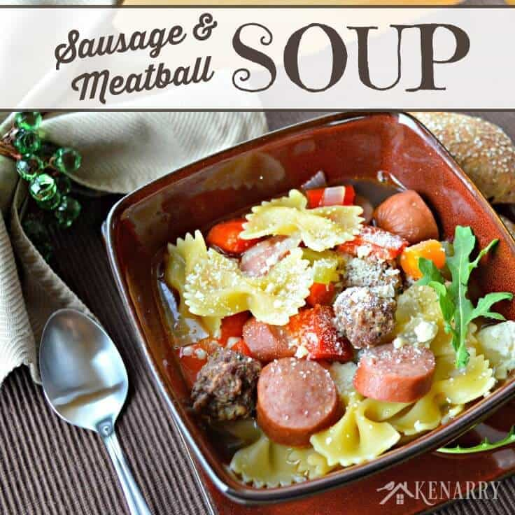 This Meatball Soup looks incredible! It's a delicious family favorite recipe made with homemade Italian meatballs, smoked turkey sausage, vegetables and bow tie pasta in a chicken broth.