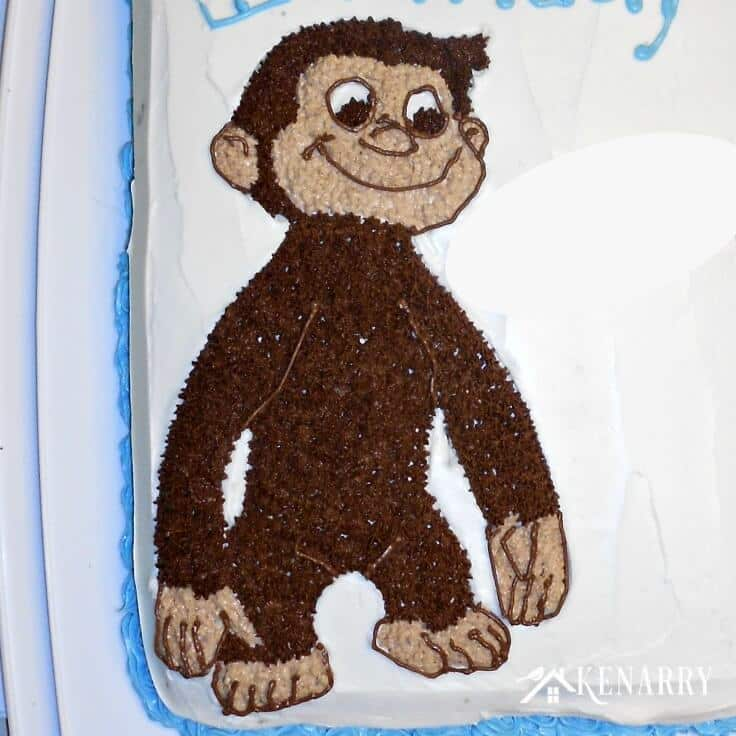 Your child will love this Curious George Birthday Cake! Party ideas and where to find paper goods and supplies to celebrate your inquisitive little monkey's birthday.