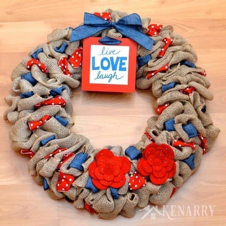 30 Patriotic Home Decoration Ideas In White Blue And Red: Burlap Wreath: Red, White And Blue Patriotic Decor