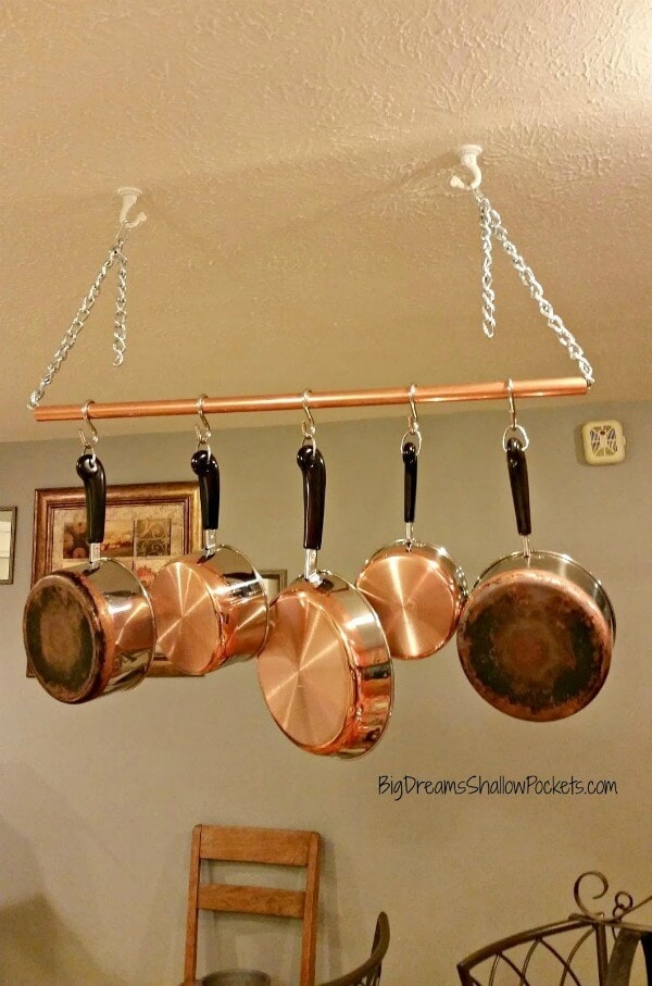 DIY Industrial Pot Rack - Big Dreams Shallow Pockets featured on Ideas for the Home by Kenarry®
