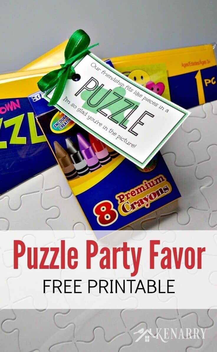 Puzzle Party Favors - Attach these free printable tags to a blank puzzle for both a craft and gift in one. Great for birthday parties or birthday treats at school! - Kenarry.com