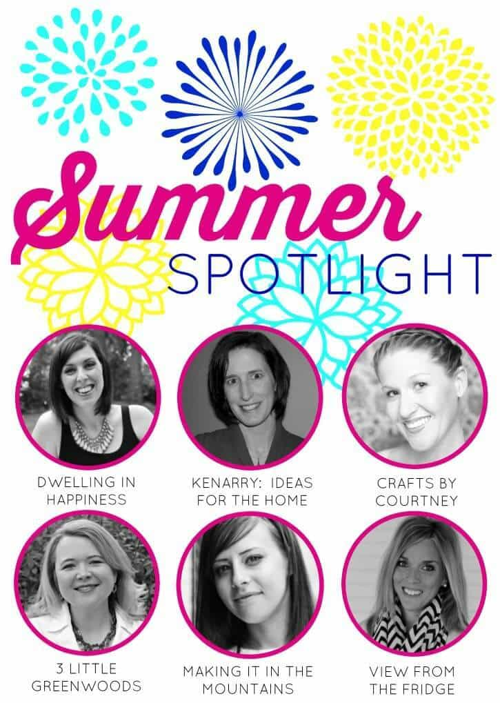 Summer Spotlight hosted by Dwelling in Happiness, Ideas for the Home by Kenarry®, Crafts by Courtney, 3 Little Greenwoods, Making It In the Mountains, and View from the Fridge