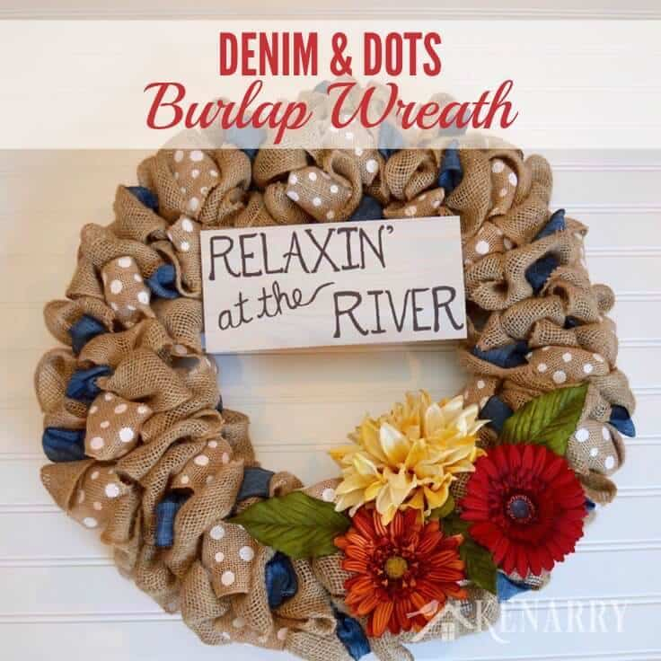love this denim and dots burlap wreath tutorial its an easy diy craft using two