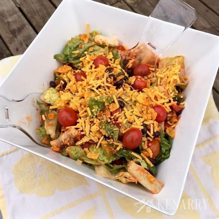 Yum! I love Taco Salad! This recipe is a classic summer side dish, great to bring to a barbecue or picnic with family and friends.
