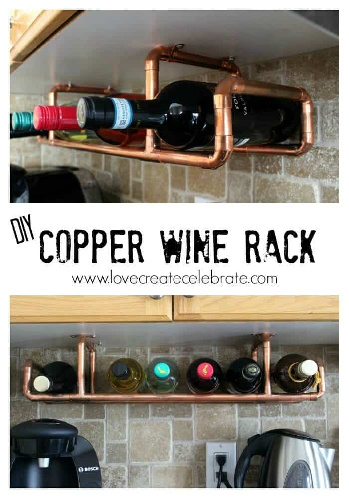 Copper Wine Rack - Love Create Celebrate featured on Ideas for the Home by Kenarry®