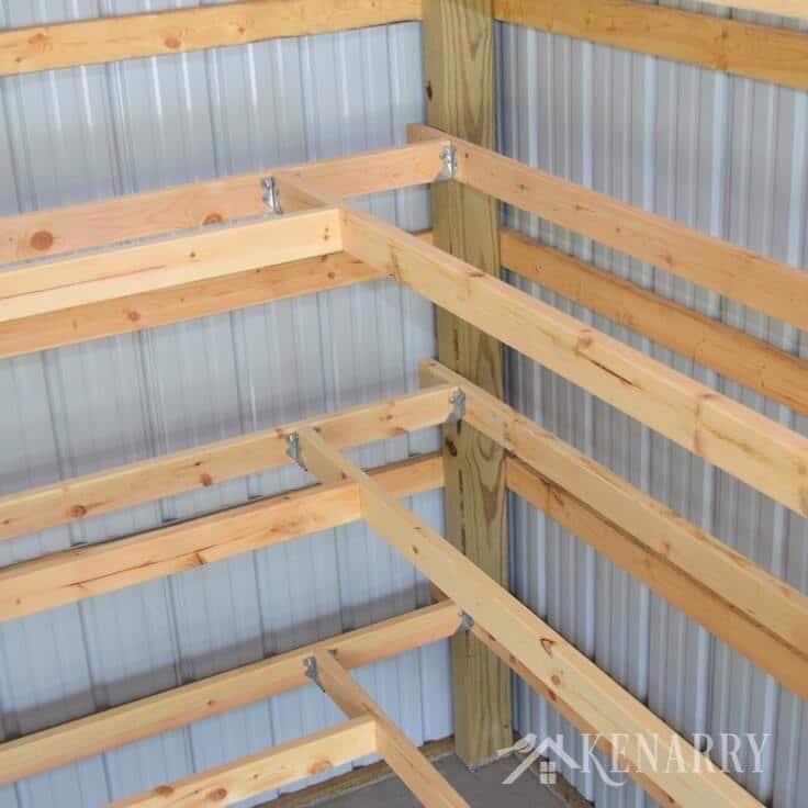Building Shelves In Metal Shed