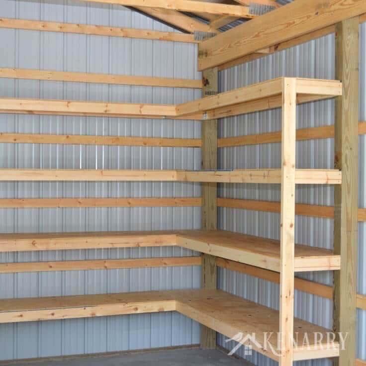 pole building garage ideas - DIY Corner Shelves for Garage or Pole Barn Storage