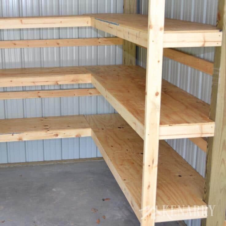 pole building garage ideas - DIY Corner Shelves for Garage or Pole Barn Storage