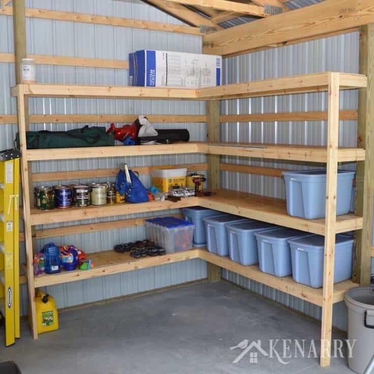 Great idea for DIY corner shelves to create storage in a garage or pole barn!