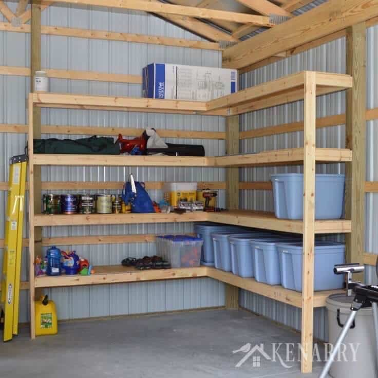 Diy corner shelves for garage or pole barn storage for Diy garage storage loft
