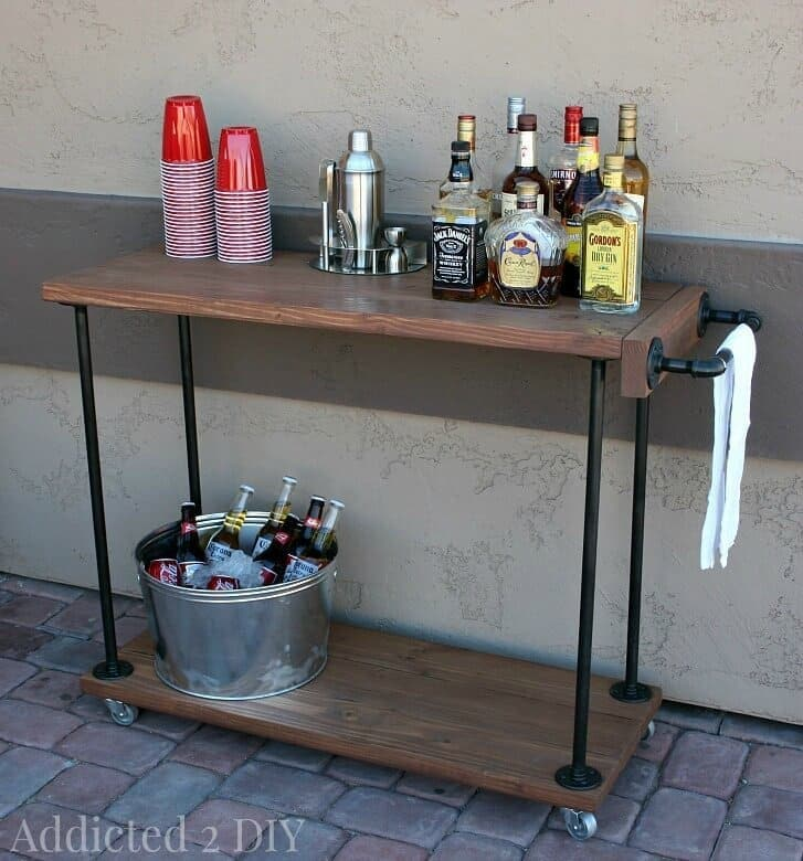 Amazing DIY Rustic Industrial Bar Cart   Addicted 2 DIY Featured On Kenarry: Ideas  For The