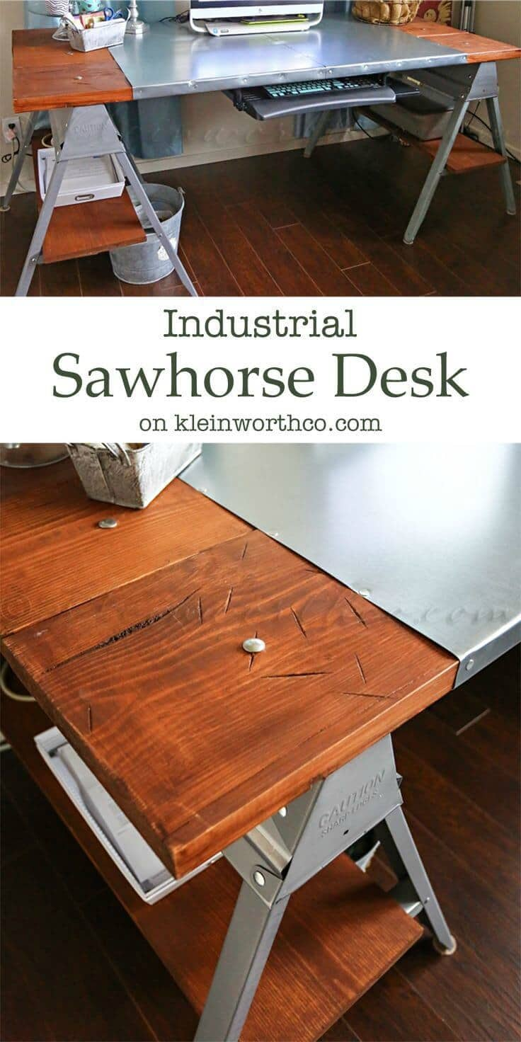 Industrial Sawhorse Desk - Kleinworth & Co. featured on Ideas for the Home by Kenarry®