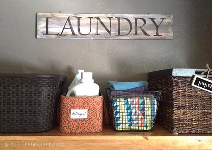 Make a fun antique laundry room sign