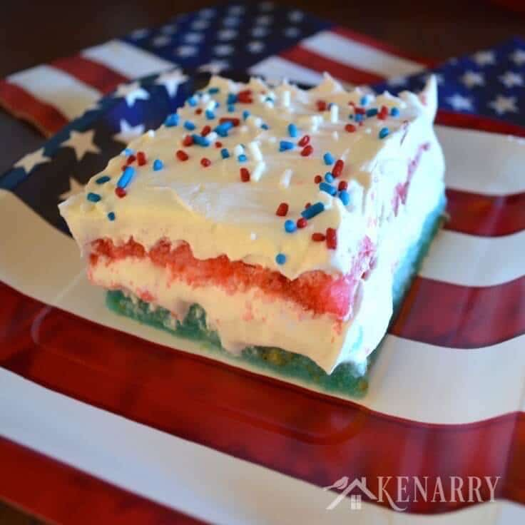 Red White And Blue Layered Jello Cake For 4th Of July