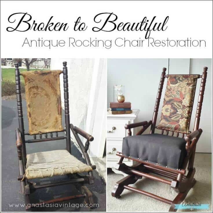 antique primitive wooden rocking chair restored gel stain upholstered - Antique Rocking Chair Restoration: Broken To Beautiful