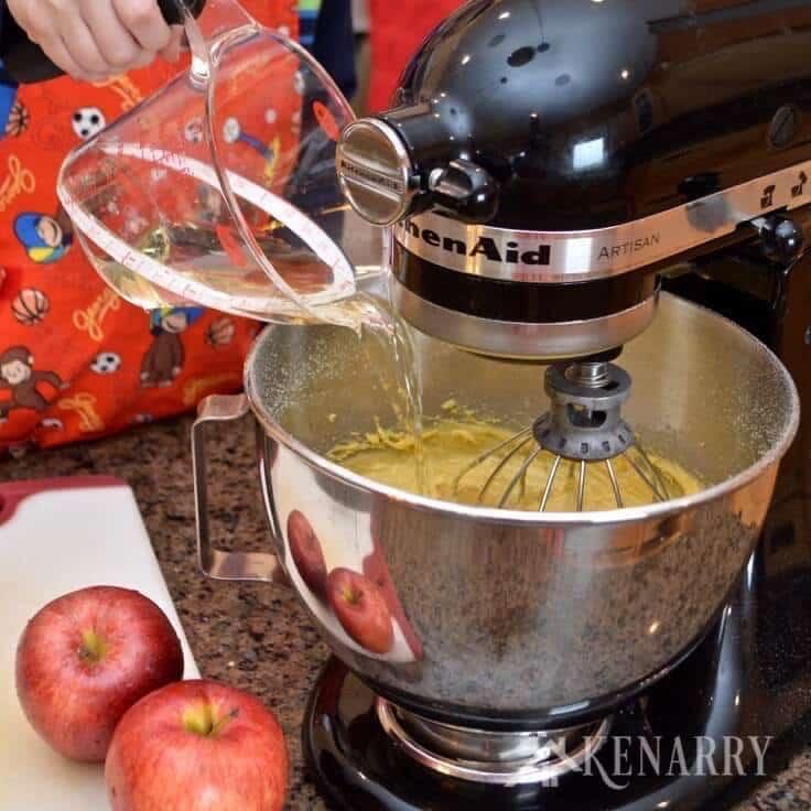 mixing ingredients for caramel apple coffee cake