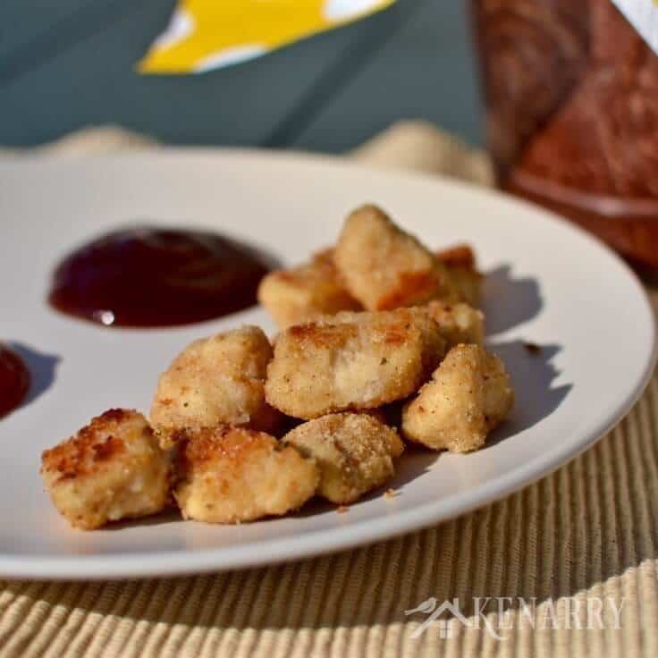 Homemade popcorn chicken nuggets on a plate
