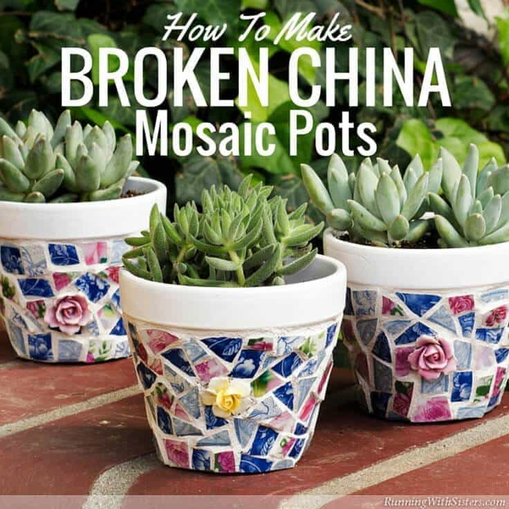 RunningWithSisters.com Glue broken china tiles onto painted terra cotta pot to make a broken china mosaic pots.