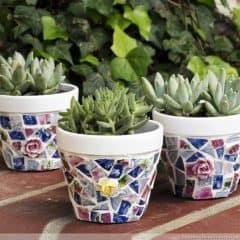 RunningWithSisters.com Glue broken china tiles onto painted terra cotta pot to make a broken china mosaic pots.