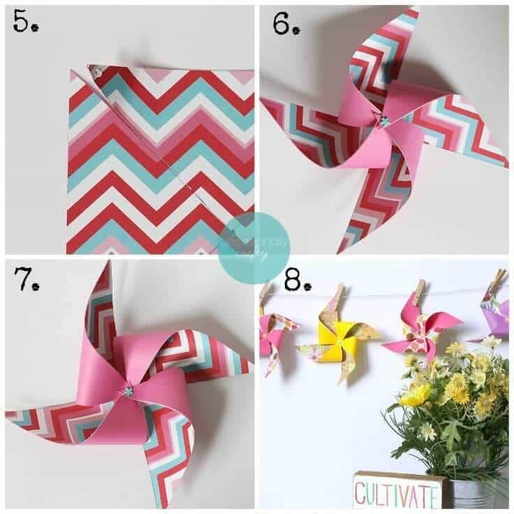 How to make a colorful pinwheel banner out of scrapbook paper