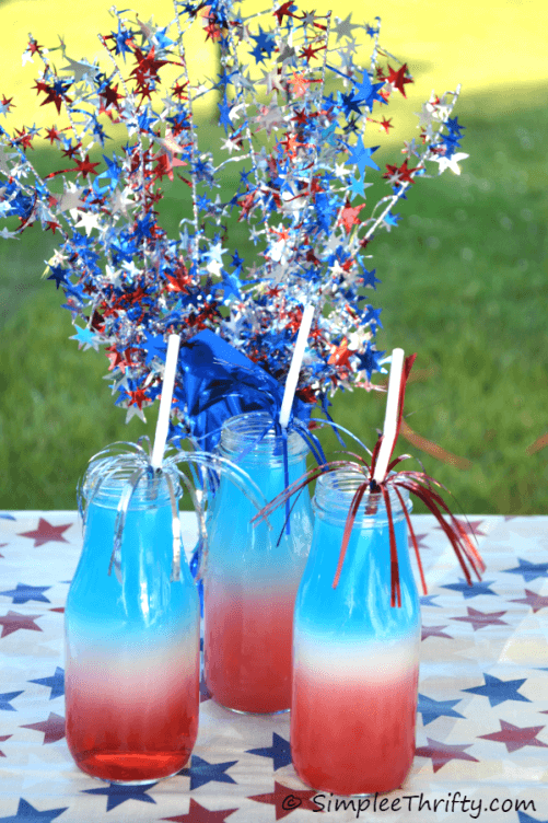 Patriotic Red White and Blue Layered Drink - Simplee Thrifty featured at Kenarry: Ideas for the Home