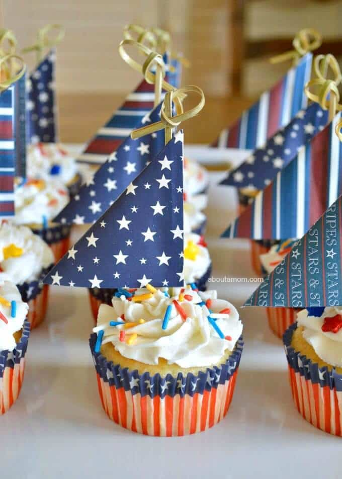 Patriotic Sailboat Cupcakes - About a Mom featured on Ideas for the Home by Kenarry™