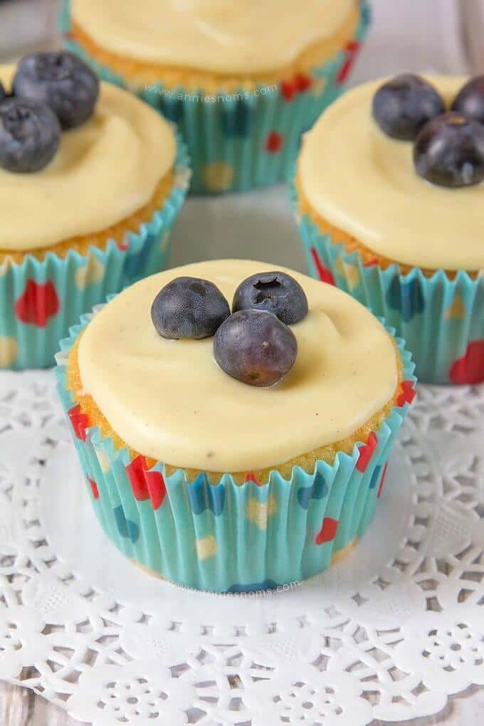 Blueberry and White Chocolate Cupcakes - Annie's Noms featured at Ideas for the Home by Kenarry™