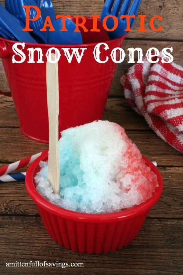 Patriotic Snow Cones - A Mitten Full of Savings featured on Ideas for the Home by Kenarry™
