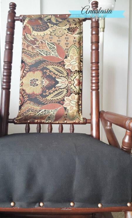 antique primitive handmade platform rocking chair upholstered back tapestry fabric