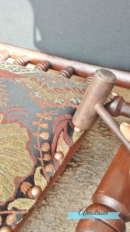 Antique Platform Rocking Chair Bronze Upholstery Tacks