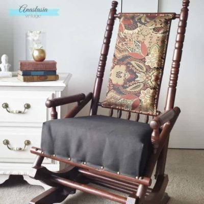 antique vintage platform rocking chair upholstered restored wood gel stain