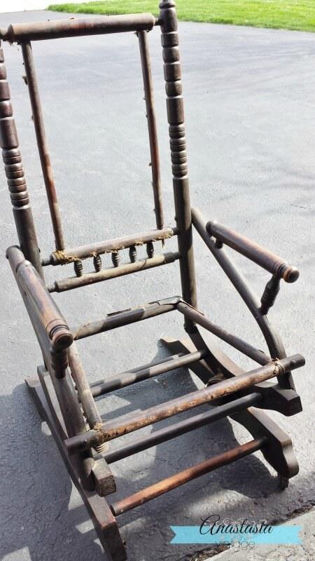 Antique Platform Victorian Rocking Chair Wood Frame