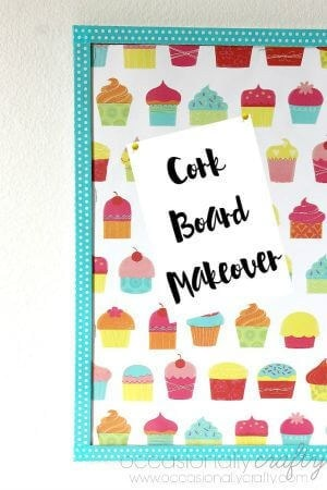 Cork Board Makeover with Wrapping Paper