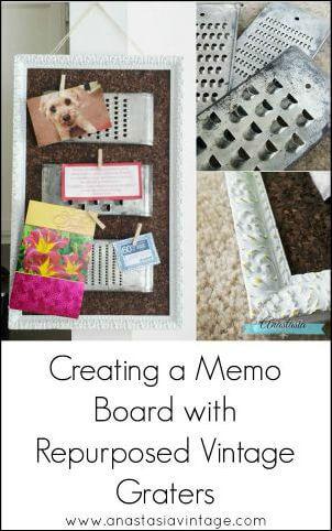 repurposed upcycled vintage grater shredder memo cork board