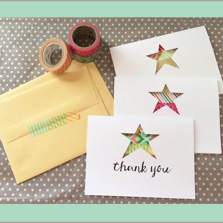 DIY Star Die-cut and Washi Tape Note Cards