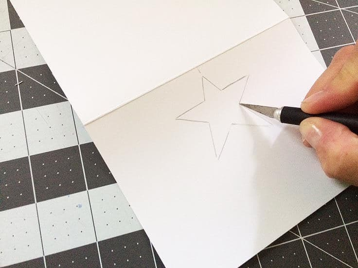 Star template for die-cut note cards