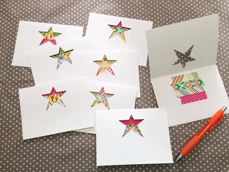 die-cut star cards with washi tape