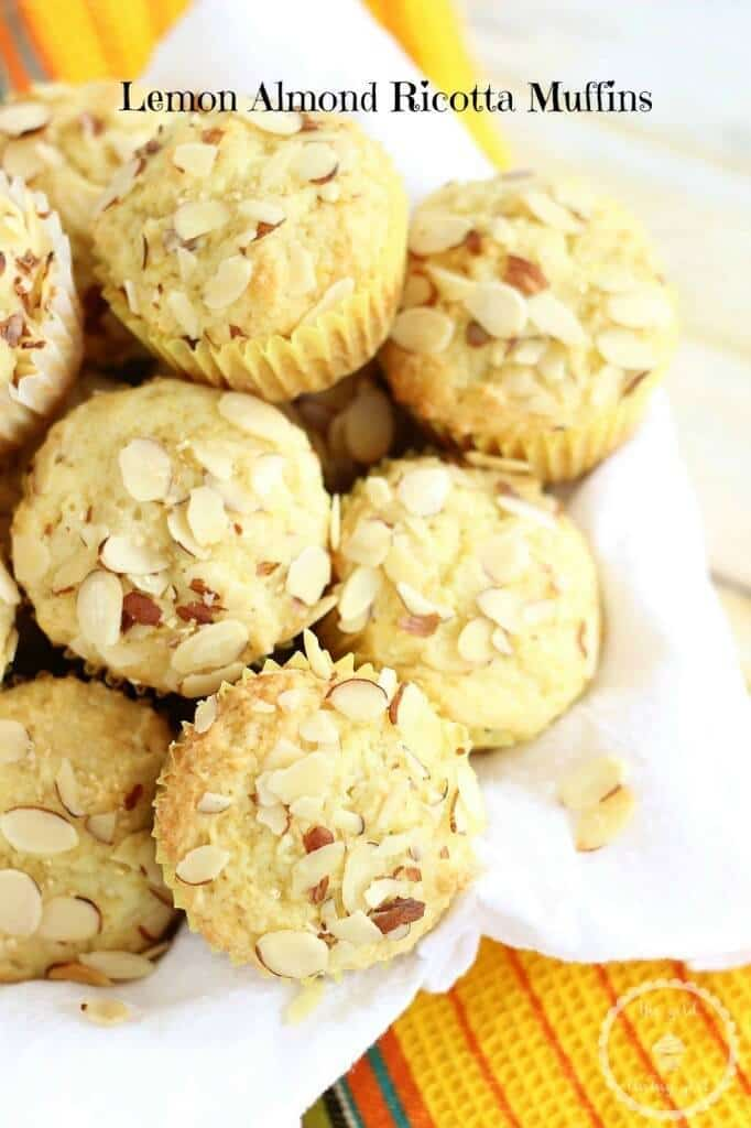 Lemon Almond Ricotta Muffins - The Gold Lining Girl featured on Kenarry.com