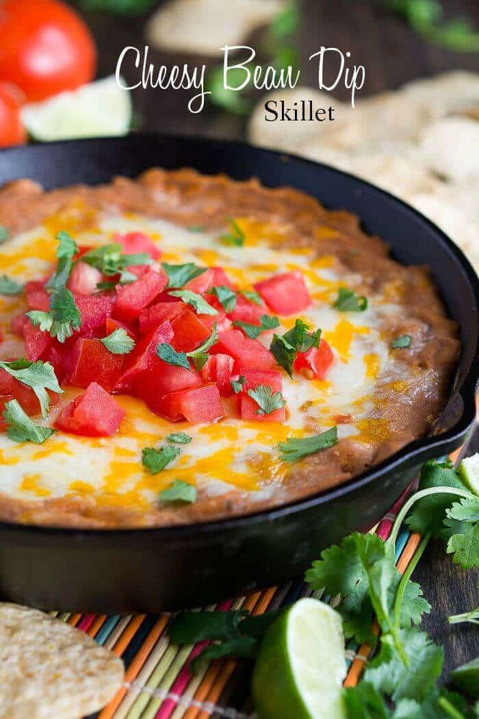 Cheesy Bean Dip Skillet – Penney Lane featured on Kenarry.com