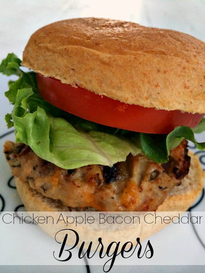 Chicken Apple Bacon Cheddar Burgers - A Life From Scratch featured on Ideas for the Home by Kenarry®