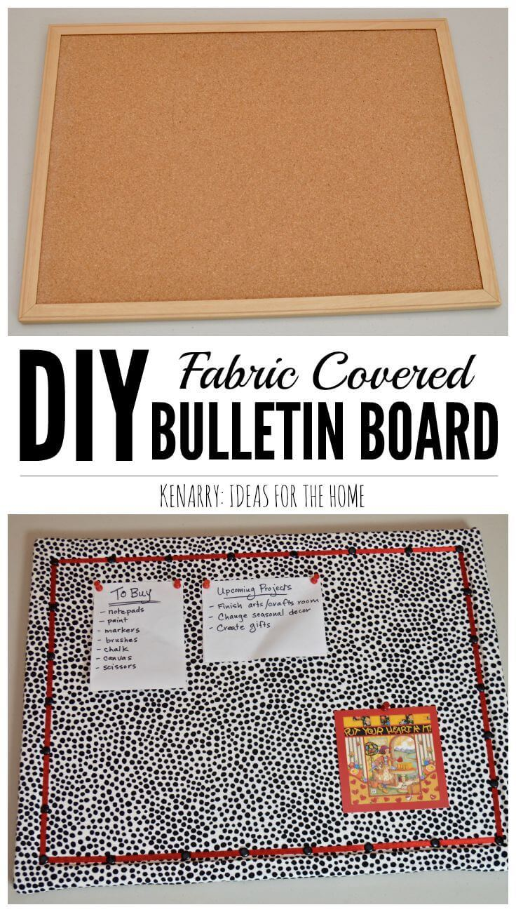Love the fabric in this DIY Bulletin Board Makeover idea! It adds a fun, feminine touch to a corkboard or message board for a home, office or dorm room.