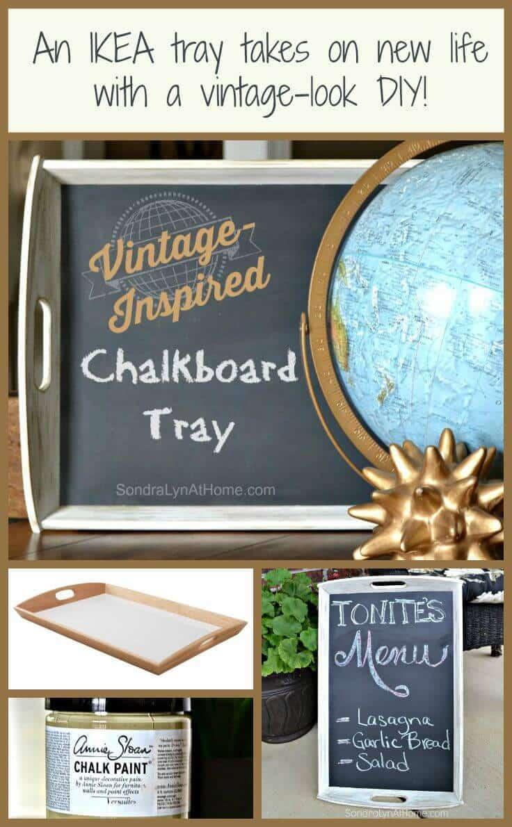 Vintage-Inspired DIY Chalkboard Tray --SondraLynAtHome.com