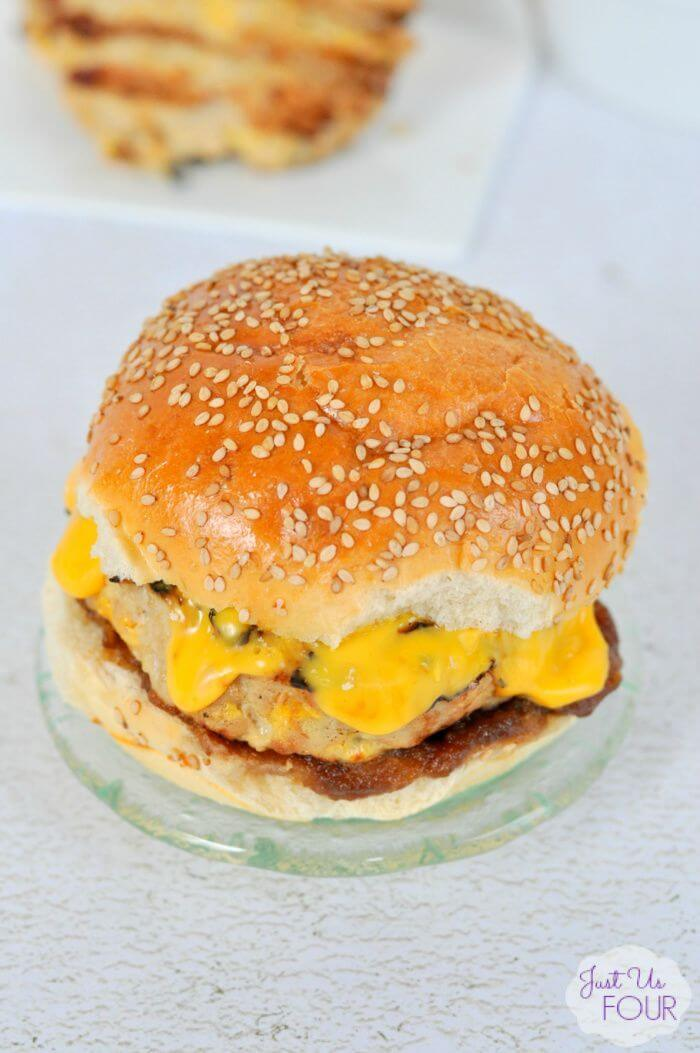 Chicken Apple Burger - Just Us Four featured on Ideas for the Home by Kenarry®