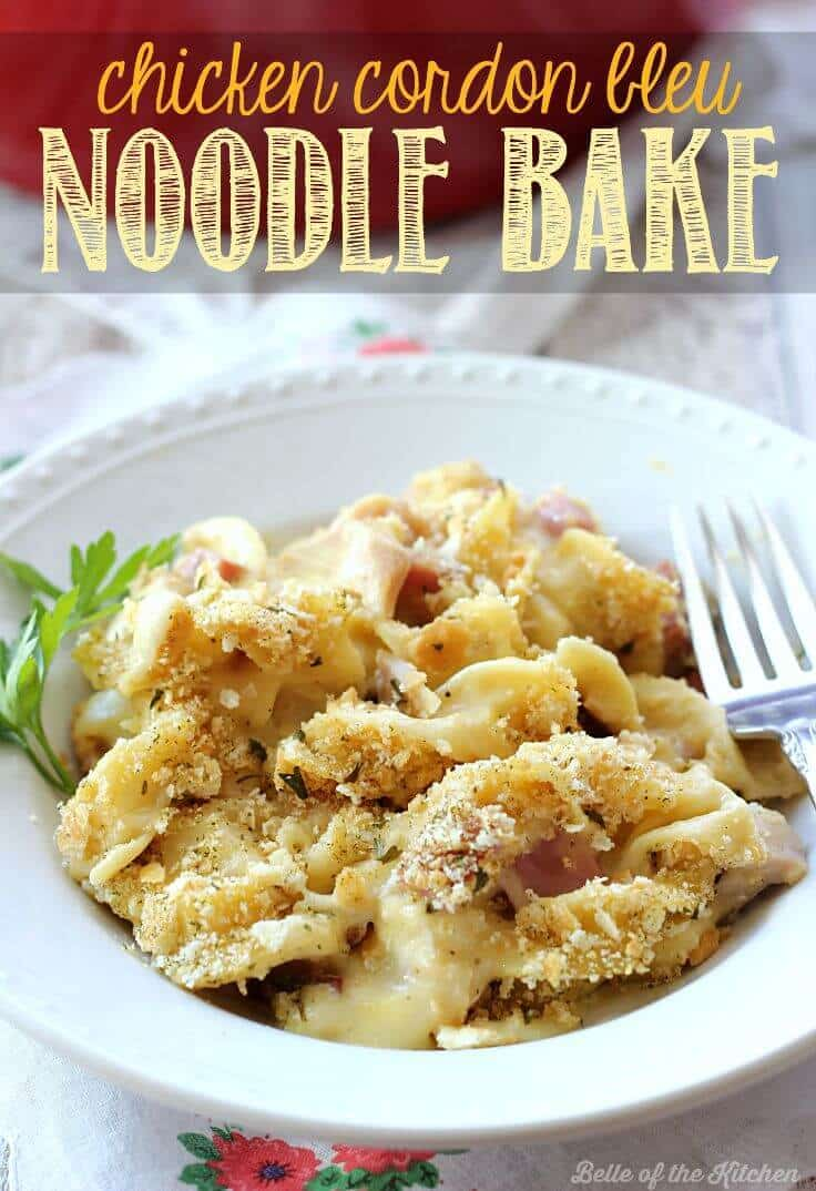 This Chicken Cordon Bleu Noodle Bake makes an easy, comforting dinner any day of the week. It's a delicious one-pot meal the whole family will love!