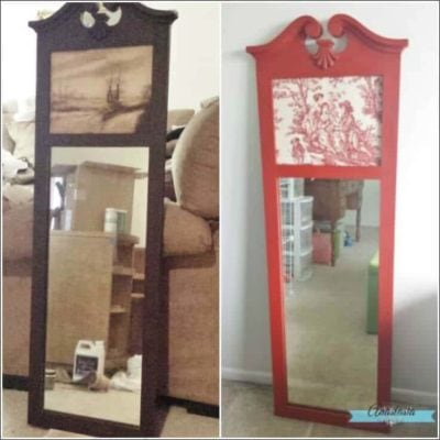 french country toile mirror makeover square