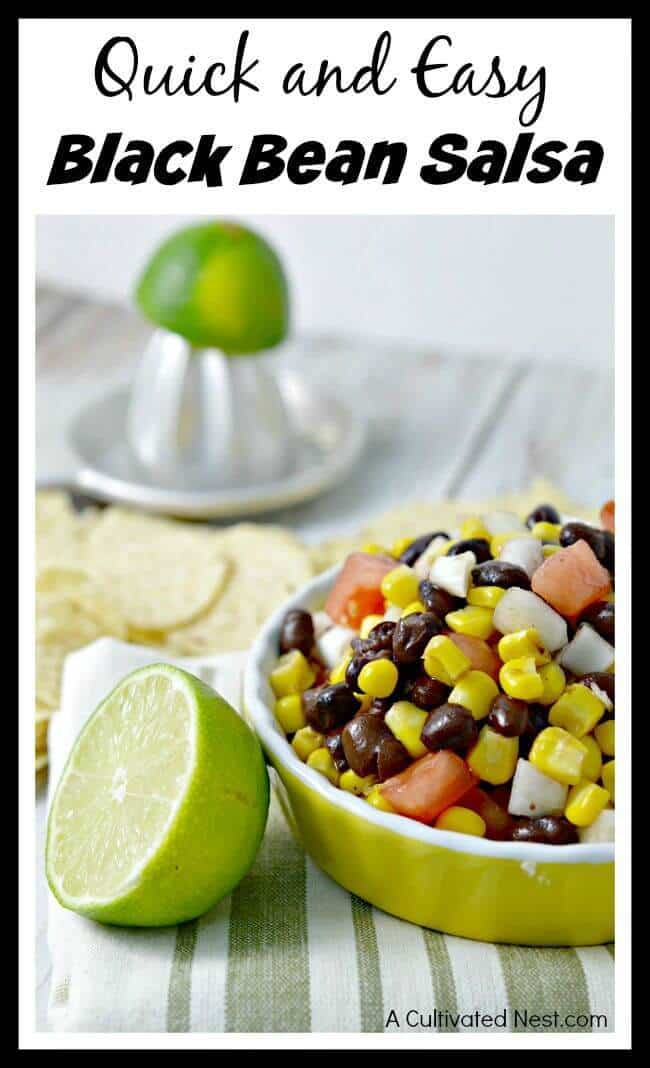Quick and Easy Black Bean Salsa – A Cultivated Nest featured on Kenarry.com