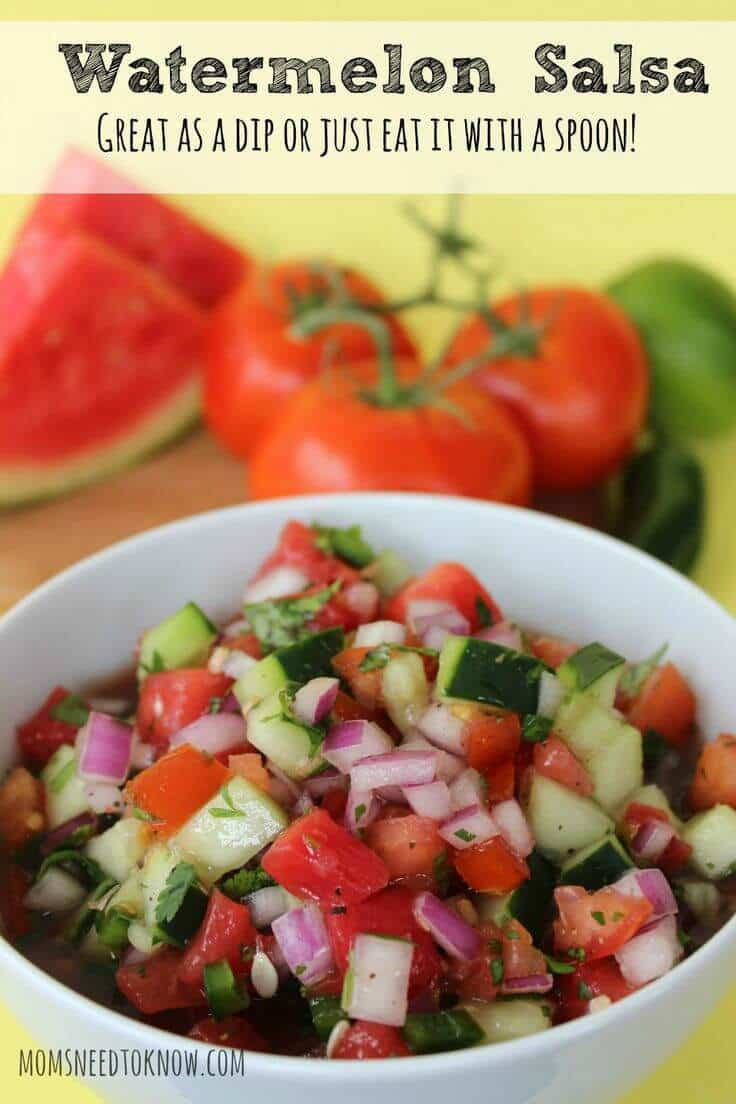 Easy Watermelon Salsa Recipe – Moms Need to Know featured on Kenarry.com