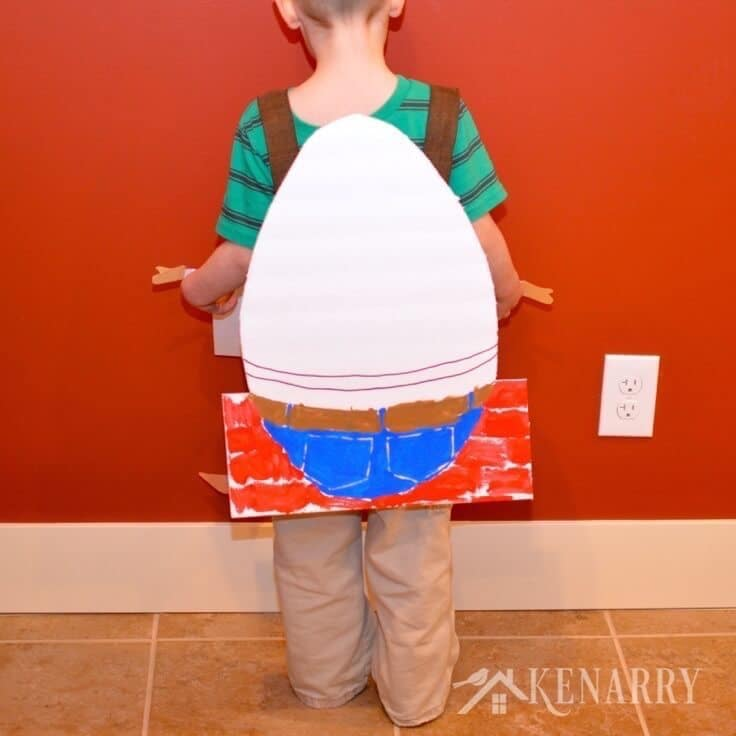 What a cute idea for a Humpty Dumpty Costume! This would be an easy kid's costume for Halloween or a nursery rhyme parade at school.