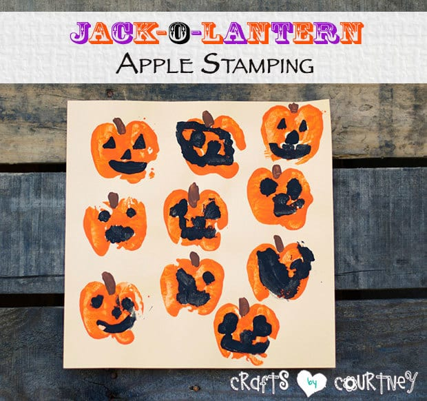 Create Jack-O-Lantern Art From Apple Stamping from Crafts By Courtney in the Summer Spotlight